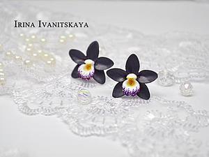 Видео мастер-класс: серьги-гвоздики с цветами орхидеи из полимерной глины. Ярмарка Мастеров - ручная работа, handmade.
