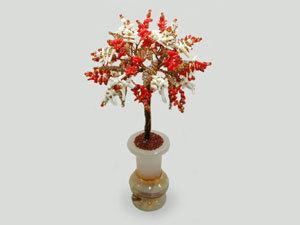 Добавлено новое изделие: Дерево счастья из красного и белого коралла | Ярмарка Мастеров - ручная работа, handmade