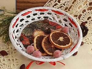 Декорируем плетеную корзинку к Новому году. Ярмарка Мастеров - ручная работа, handmade.