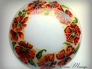 Маки витражными красками | Ярмарка Мастеров - ручная работа, handmade