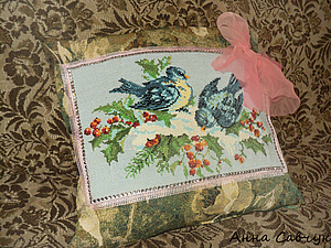 Подушка с вышивкой   Ярмарка Мастеров - ручная работа, handmade