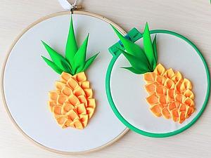 Создаем простое летнее панно «Сочный ананас». Ярмарка Мастеров - ручная работа, handmade.