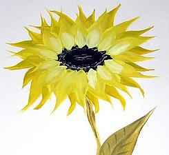 Рисуем  подсолнух касками на бумаге | Ярмарка Мастеров - ручная работа, handmade