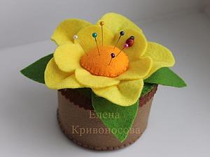 Мастер-класс: цветок-игольница из фетра. Ярмарка Мастеров - ручная работа, handmade.