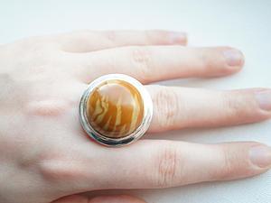 Аукцион!!!Кольцо из серебра 925 пробы и древесной яшмы! | Ярмарка Мастеров - ручная работа, handmade