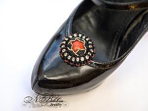 Клипсы для обуви. Вышивка бисером | Ярмарка Мастеров - ручная работа, handmade
