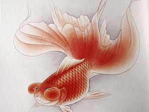 Золотая рыбка в технике гунби (китайская живопись)   Ярмарка Мастеров - ручная работа, handmade