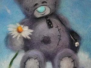 Мишка Тедди. Картина из шерсти. Фото обзор.. Ярмарка Мастеров - ручная работа, handmade.