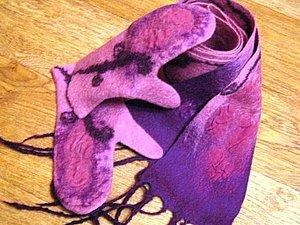 Мокрое валяние - варежки или митенки | Ярмарка Мастеров - ручная работа, handmade