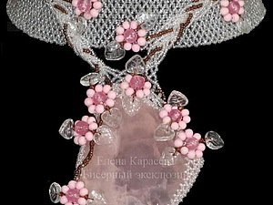 Колье из бисера с розовым кварцем, handmade