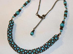 Аукцион сегодня!!! Ожерелье из бирюзы и кристаллов | Ярмарка Мастеров - ручная работа, handmade