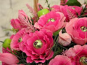 Как сделать цветок для букета из конфет. Ярмарка Мастеров - ручная работа, handmade.