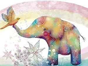30 позитивных слонов: яркие иллюстрации Karin Taylor. Ярмарка Мастеров - ручная работа, handmade.