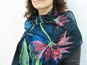 Мокрое валяние: Валяние шарфа на шелке | Ярмарка Мастеров - ручная работа, handmade