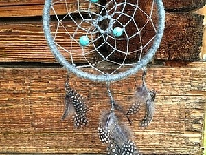 Ловец снов с бирюзой, агатом и горным хрусталем на благотворительном аукционе | Ярмарка Мастеров - ручная работа, handmade