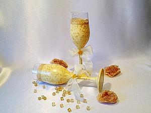 Как обогатить вид свадебных бокалов при помощи декора. Ярмарка Мастеров - ручная работа, handmade.