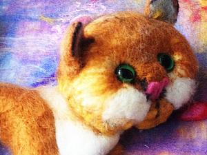 Рыжий кот - сухое валяние | Ярмарка Мастеров - ручная работа, handmade