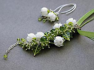 Дополнительные фото Подвеска  лэмпворк Ландыши 5 цветков | Ярмарка Мастеров - ручная работа, handmade