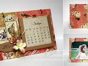 Скрапбукинг. Календарь-фоторамка на 2014 год.   Ярмарка Мастеров - ручная работа, handmade