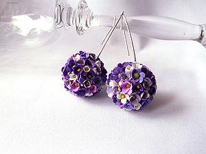 Цветочные серьги-шары из запекаемой полимерной глины | Ярмарка Мастеров - ручная работа, handmade