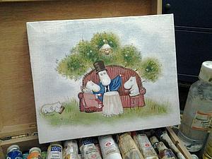 Рисуем Муми-троллей акрилом на холсте. Ярмарка Мастеров - ручная работа, handmade.