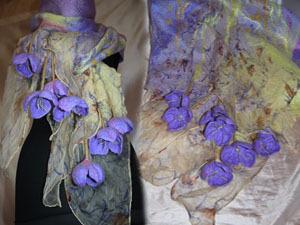 Мастер-класс по валянию палантинов с шелком и объемными цветами | Ярмарка Мастеров - ручная работа, handmade