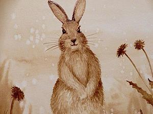 Мастер-класс по кофейному рисованию зайчика | Ярмарка Мастеров - ручная работа, handmade