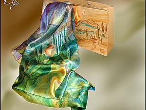 Красочные платки-пейзажи для прекрасного настроения   Ярмарка Мастеров - ручная работа, handmade