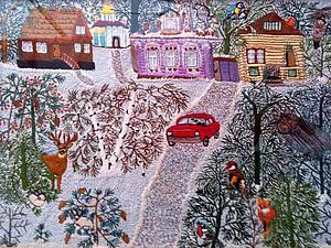 Трогательные вышитые картины художниц наивного искусства | Ярмарка Мастеров - ручная работа, handmade