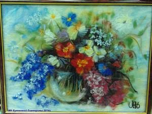 Шерстяная акварель Екатерины Буянковой - создаем картину Букет
