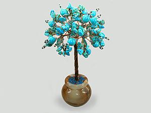 Добавлено новое изделие: Миро дерево из бирюзы в вазочке из оникса   Ярмарка Мастеров - ручная работа, handmade