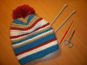 Вяжем спицами простую шапку. Ярмарка Мастеров - ручная работа, handmade.
