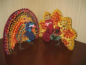 Жар-птица и павлин в технике канзаши. Ярмарка Мастеров - ручная работа, handmade.