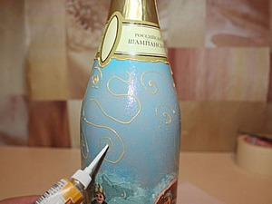 Декупаж бутылки шампанского. Ярмарка Мастеров - ручная работа, handmade.