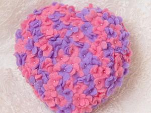 МК Валяное цветочное сердце | Ярмарка Мастеров - ручная работа, handmade