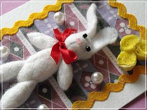 Делаем открытку с Пасхальным Зайчиком, используя валяние шерсти. Ярмарка Мастеров - ручная работа, handmade.