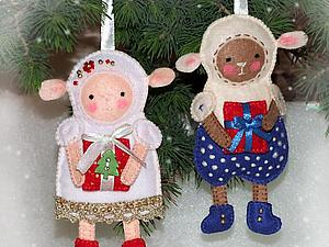 Елочные игрушки: овечки из фетра своими руками. Ярмарка Мастеров - ручная работа, handmade.