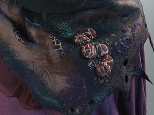 Валяный шарф-бактус. Шёлковый платок в подарок. | Ярмарка Мастеров - ручная работа, handmade