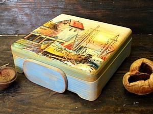 Декупаж чайной шкатулки! Работа с лаковой распечаткой и двухшаговый кракелюр!   Ярмарка Мастеров - ручная работа, handmade