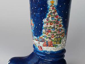 Декорируем вазочку «Новогодний сапожок». Ярмарка Мастеров - ручная работа, handmade.