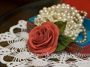 Роза из фоамирана. Изготовление броши. | Ярмарка Мастеров - ручная работа, handmade