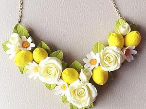 Колье с розами, лимонами и ромашками | Ярмарка Мастеров - ручная работа, handmade