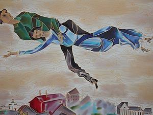 Панно Над городом.Вольная копия Марка Шагала.. Ярмарка Мастеров - ручная работа, handmade.