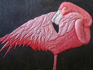 """Интерьерное панно """"Фламинго"""". Ярмарка Мастеров - ручная работа, handmade."""