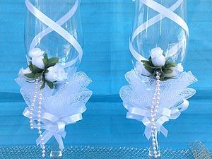 Как украсить свадебные бокалы своими руками. Ярмарка Мастеров - ручная работа, handmade.