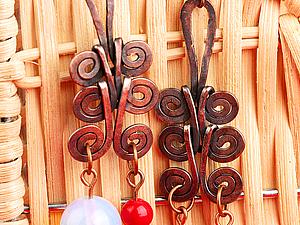 Завитушные серьги из медной проволоки | Ярмарка Мастеров - ручная работа, handmade