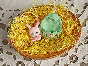 Мастерим из фетра: пасхальный зайчик в домике из скорлупы. Ярмарка Мастеров - ручная работа, handmade.