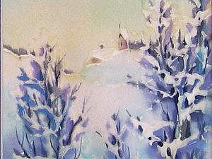 Новогодняя открытка с шёлком  (холодный батик, оттиски - первые шаги) м.Чистые пруды   Ярмарка Мастеров - ручная работа, handmade