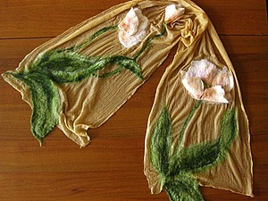 Приглашаю на мастер-класс по валянию шарфов на шелке (шерстяная акварель) с объемными элементами | Ярмарка Мастеров - ручная работа, handmade