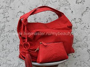 Ярко красная сумка из кожи питона | Ярмарка Мастеров - ручная работа, handmade
